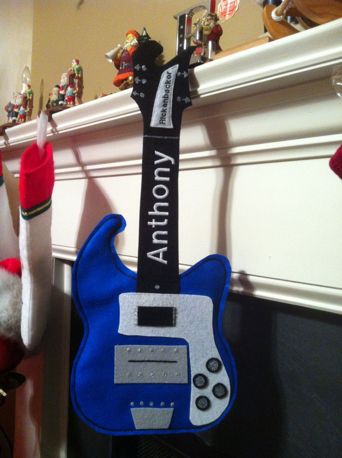 custom guitar shaped personalized stocking or gift bag via etsy kayjon designs. Black Bedroom Furniture Sets. Home Design Ideas