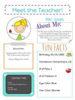Back To School Meet The Teacher Info Sheet By Trending Technology In Tennessee Teachers Pay Teachers Meet The Teacher Teacher Info Meet The Teacher Template