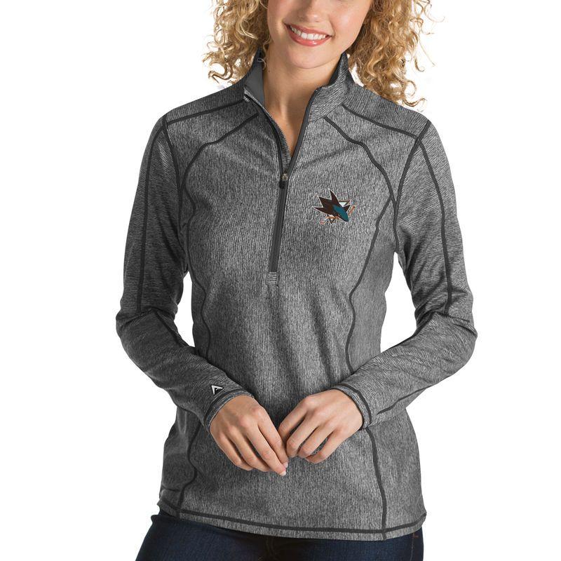 San Jose Sharks Antigua Women's Tempo Desert Dry 1/2-Zip Pullover Jacket - Charcoal