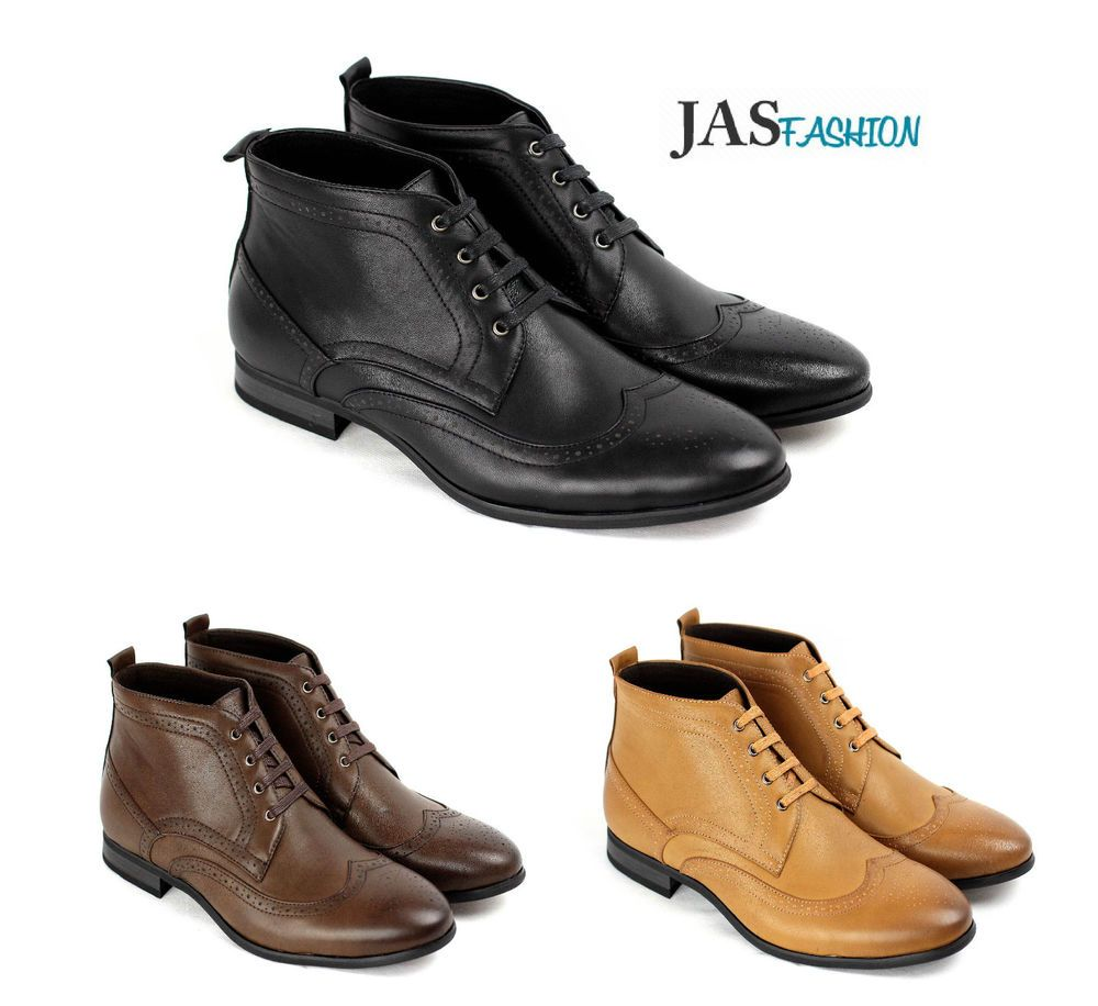 Boot  UK SIZES 6-11 New Men's Leather LOOK Laces-Up Dress Formal Ankle Shoe