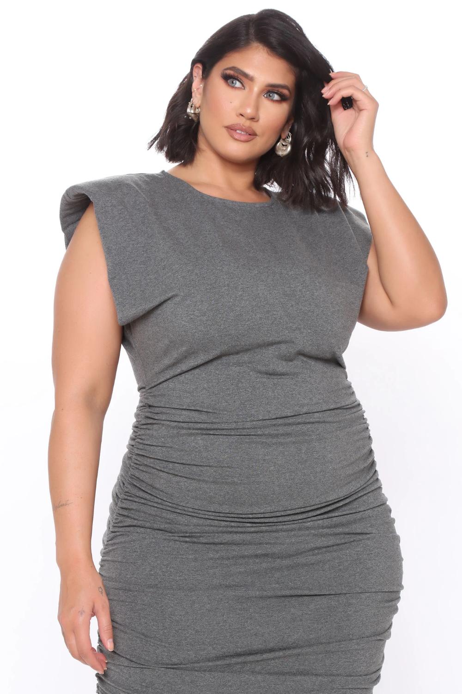 One And Only Shoulder Pad Midi Dress Charcoal Dresses Fashion Nova Midi Dress Bodycon Fashion Midi Dress [ 1500 x 1000 Pixel ]