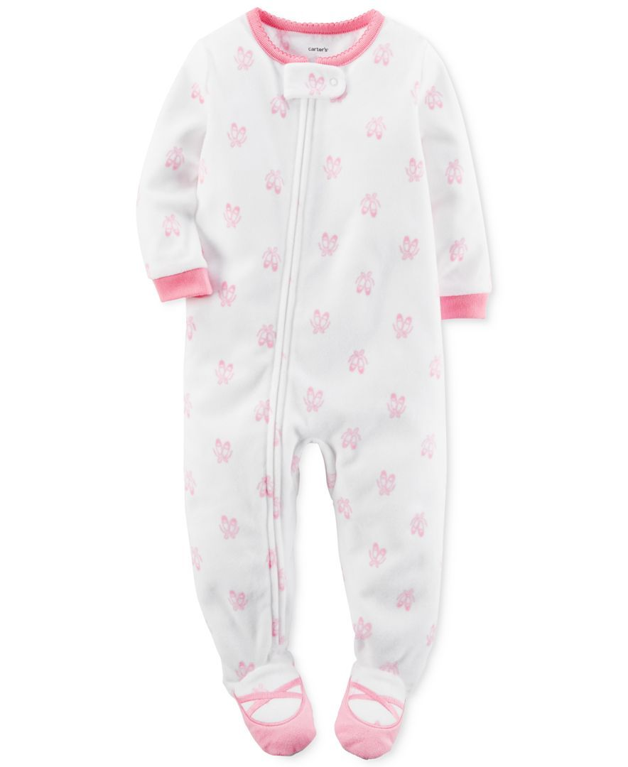 09767c5c2380 Carter s Baby Girls  1-Pc. Ballerina-Print Footed Pajamas