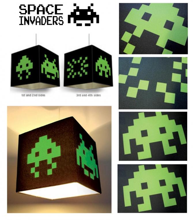 Lámpara de Space Invaders   retro   geek  luz