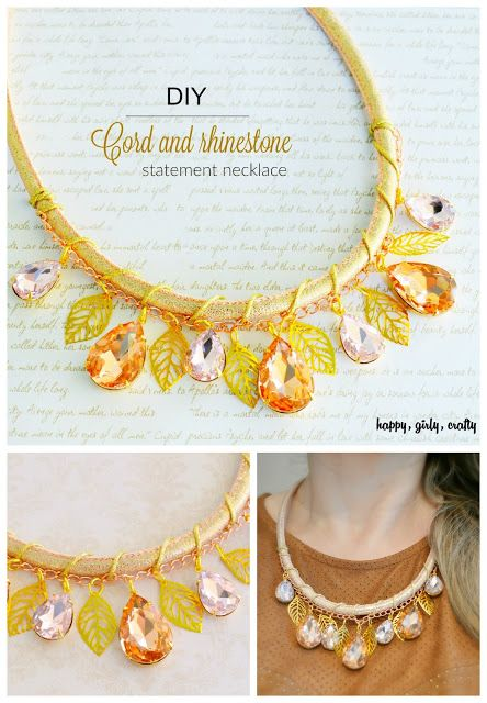 Cord and rhinestone statement necklace DIY