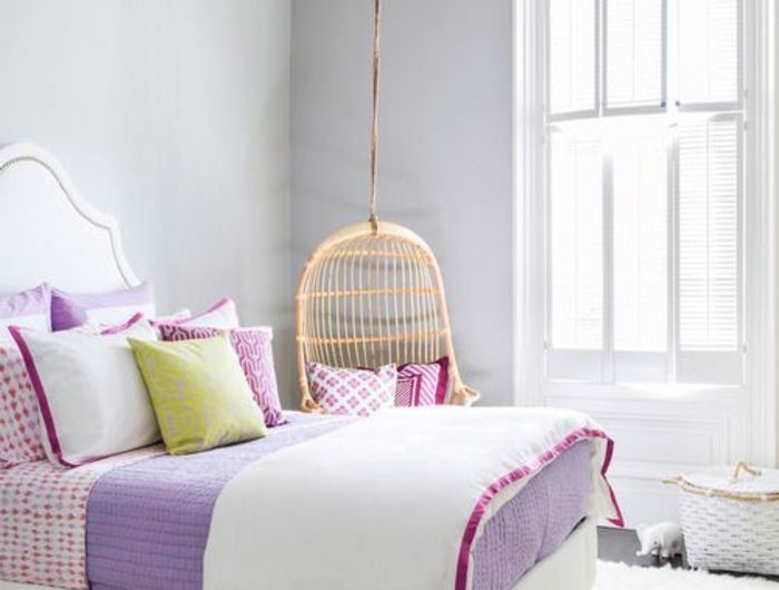 Chambre Ado Fille Moderne Belle Violet Blanc Lustre