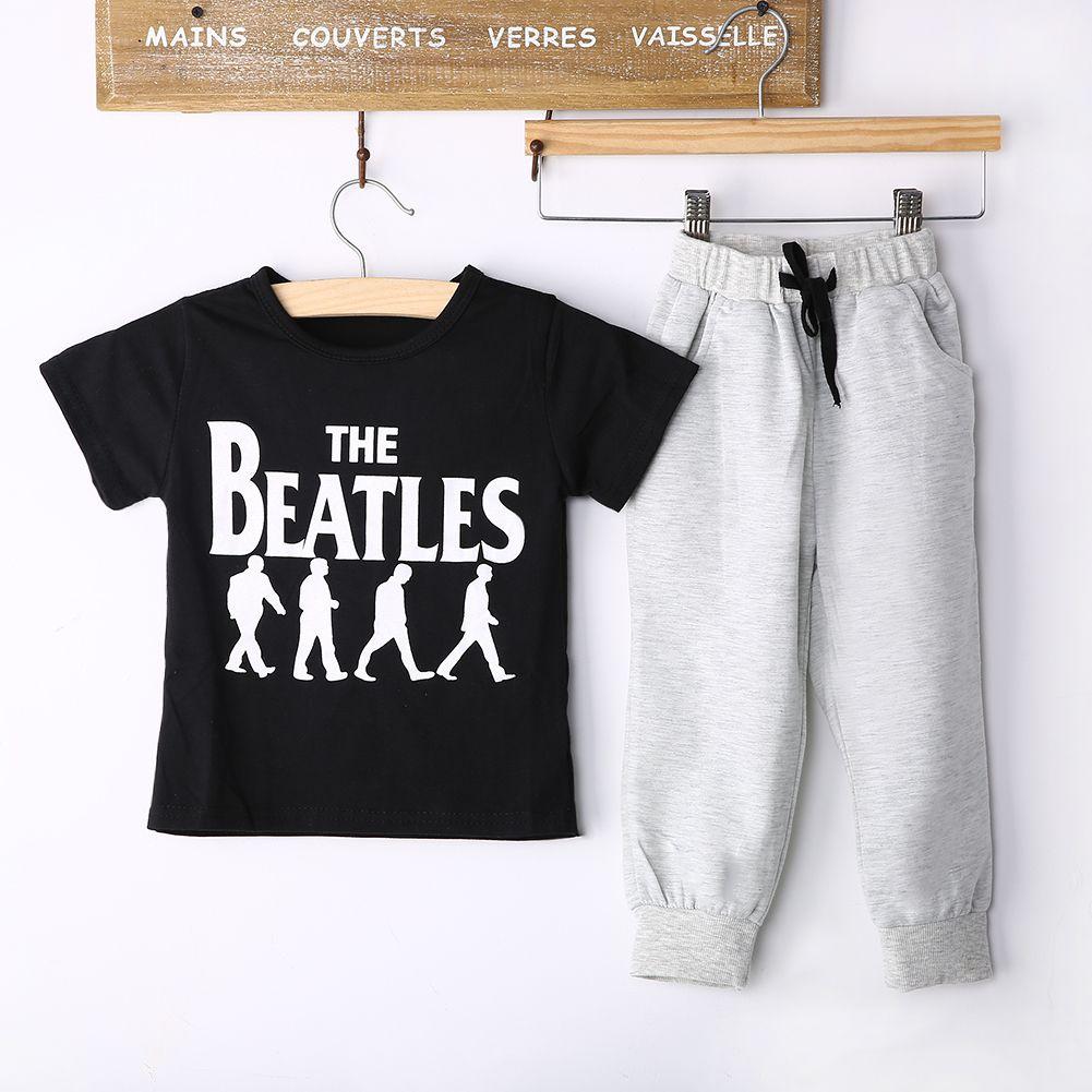 e142deddc 2PCS Baby Boys 2-6Y Short Sleeve T-shirt +Leisure Paths Outfits Fit ...