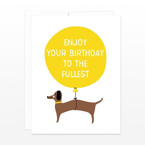 Cute Dachshund Weiner Dog Birthday Card Funny Dog Greeting Card