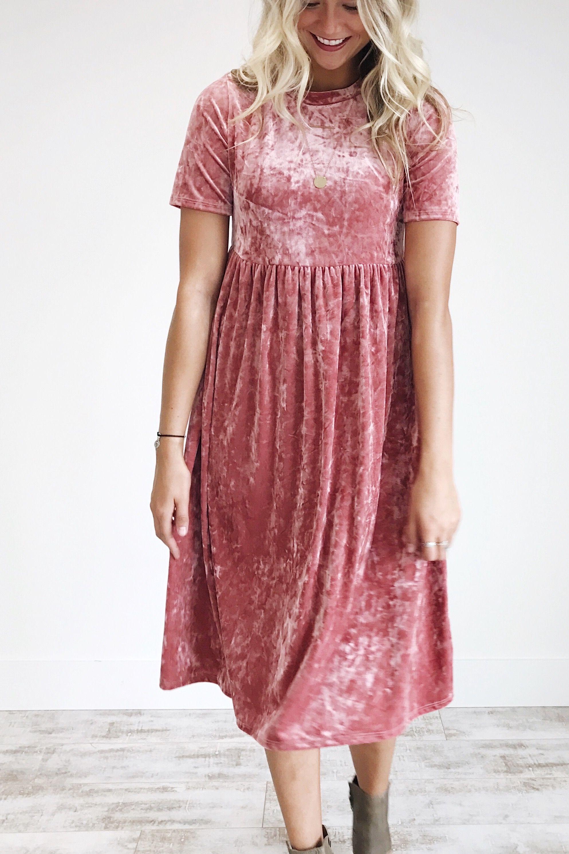 Pink Rose Velvet Dress | ROOLEE | Simple Elegance | Pinterest ...