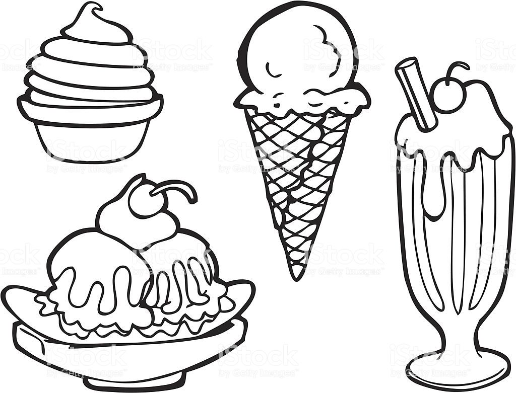 Black And White Line Art Of Various Types Of Ice Cream Including Hard Ice Cream Art Cute Food Drawings Black And White Lines