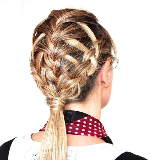 feather French and side Dutch braids into wrapped pony