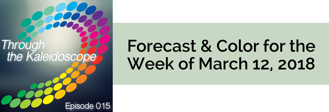 Your Forecast for the Week of March 12,2018 Last week's focus on play, fun and passion and attraction of like experiences have opened up your mind and heart to new ways to create your future vision. When you look through your Kaleidoscope to your desired view, you now see some ways and options to create that view. Some dreams no longer feel like dreams! Show Notes:  March's theme: Expansive Color of the Week: Topiary Tint  Prefer to read? This week's forecast, corresponding colo