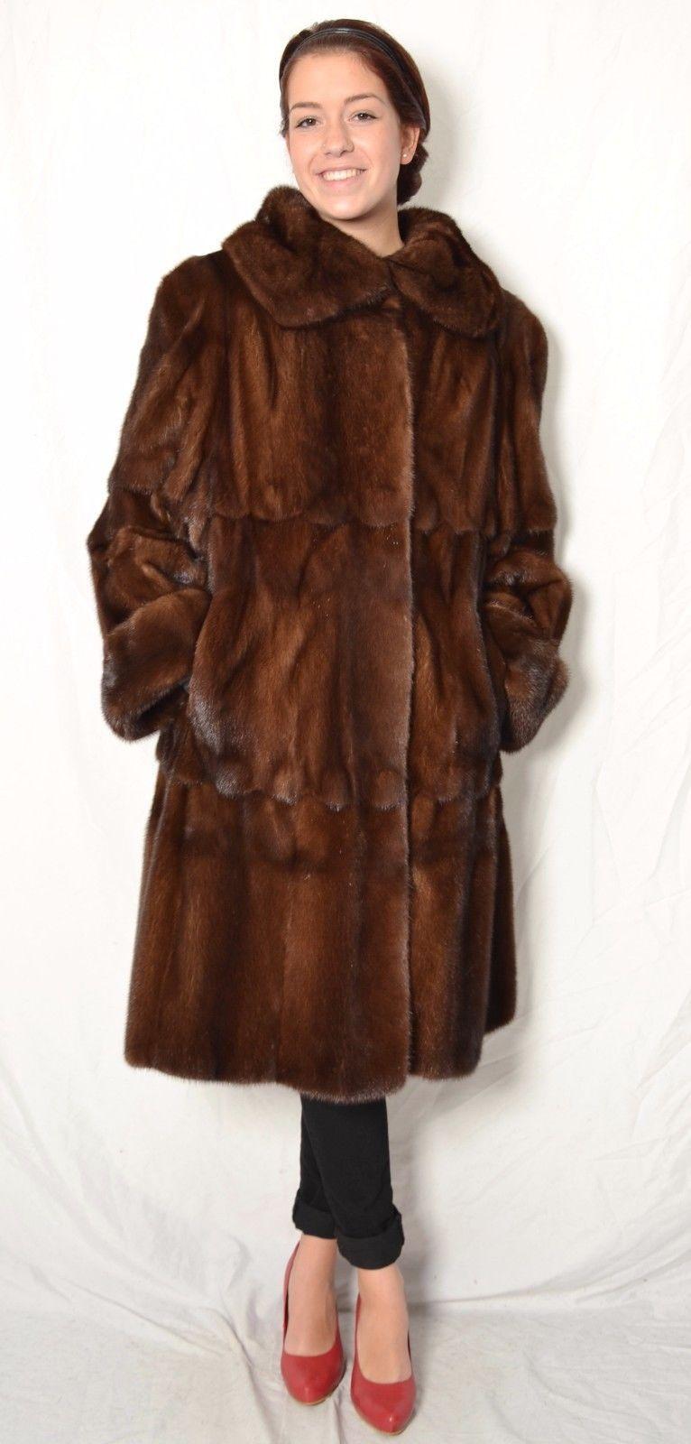US39 soft Mink Fur Coat Jacket Swinger skin on Skin PELLICCIA VISONE ca. XL | eBay