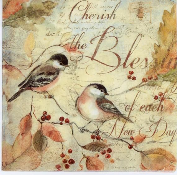 4 Decoupage Napkins | Pair of cherish | Bird Napkins | The blessing new day Napkins | Paper Napkins for Decoupage