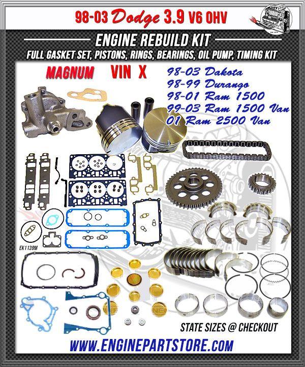 9803 Dodge 3.9 V6 MAGNUM Engine Rebuild Kit, OHV VIN X
