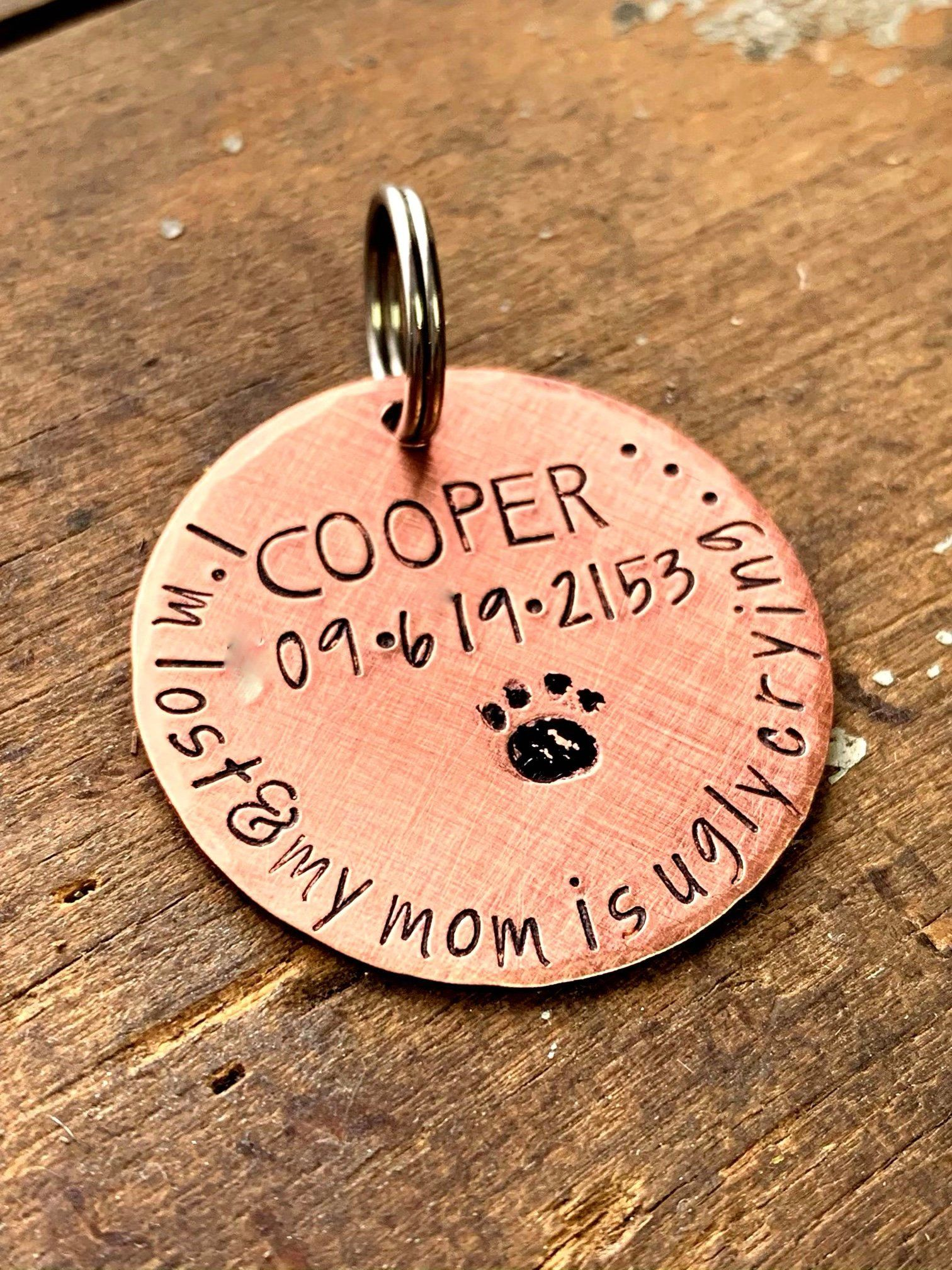Copper Dog Tag For Collar Funny Name Tag For Pet Large