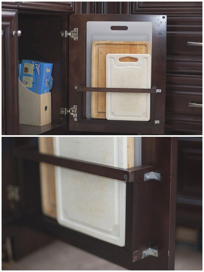 A Few Scraps Of Wood And A Couple Of L Shaped Brackets Were Used To Make A Cutting  Board Holder That Hides Behind A Base Cabinet Door. Vertical Storage Is ...