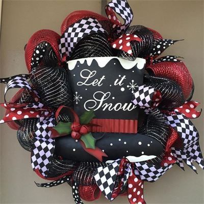 Photo of red and black ribbon wreath – Google search