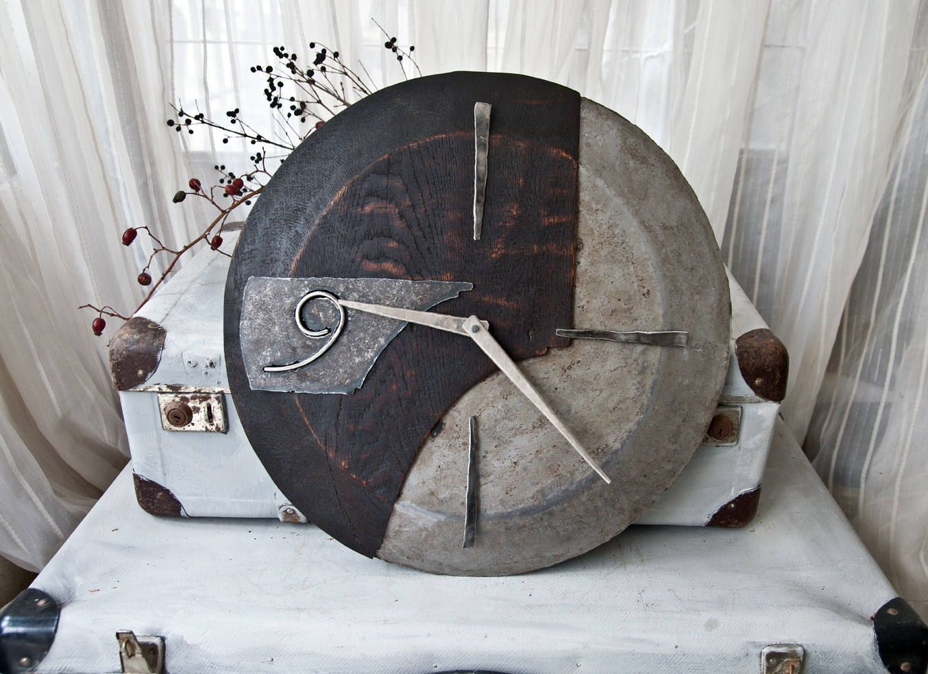 Industrial Wall Decor Industrial Wall Clock Medium Size Wood And Metal Clock Oak Wrought