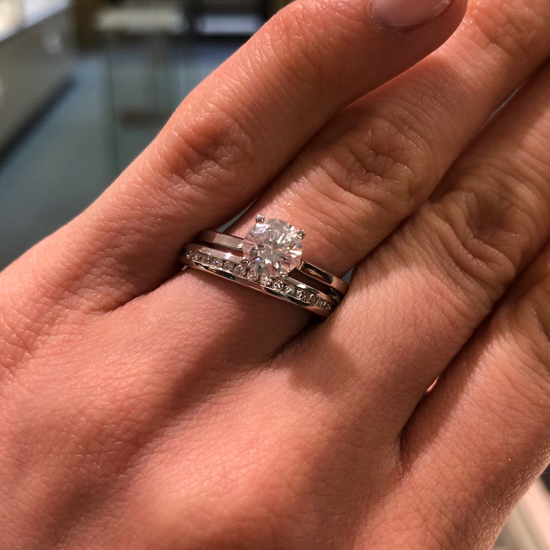Solitaire Engagement Ring And Channel Set Wedding Band Engagement Rings Channel Set Channel Set Wedding Band Solitaire Engagement Ring