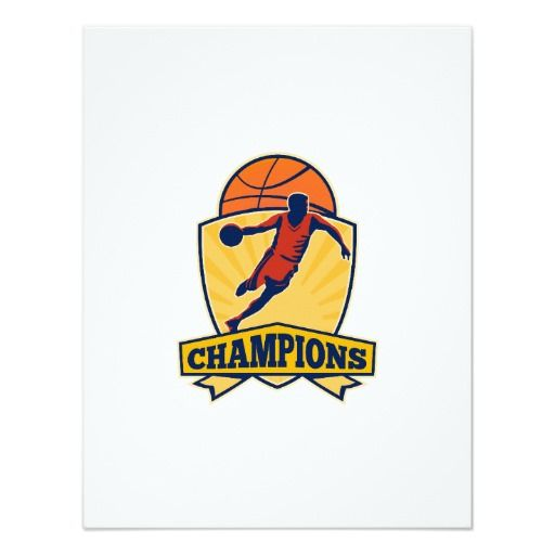 Basketball Player Dribbling Ball Shield Retro Card Illustration Of A Basketball Player Dribbling Ball With Ball And Shield And Words Champions On Isolated Whit