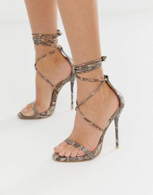 5a328c2bb0e3 Simmi London Shania tie up snake print heeled sandals in 2019 ...