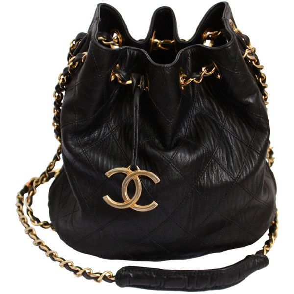 1980's CHANEL black quilted leather bucket bag with gilt chain found on Polyvore