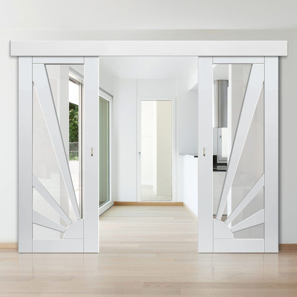 Double Sliding Door Wall Track Calypso Aurora White Primed Doors Clear Glass Interieur Staldeuren Schuifdeuren Schuur The Doors