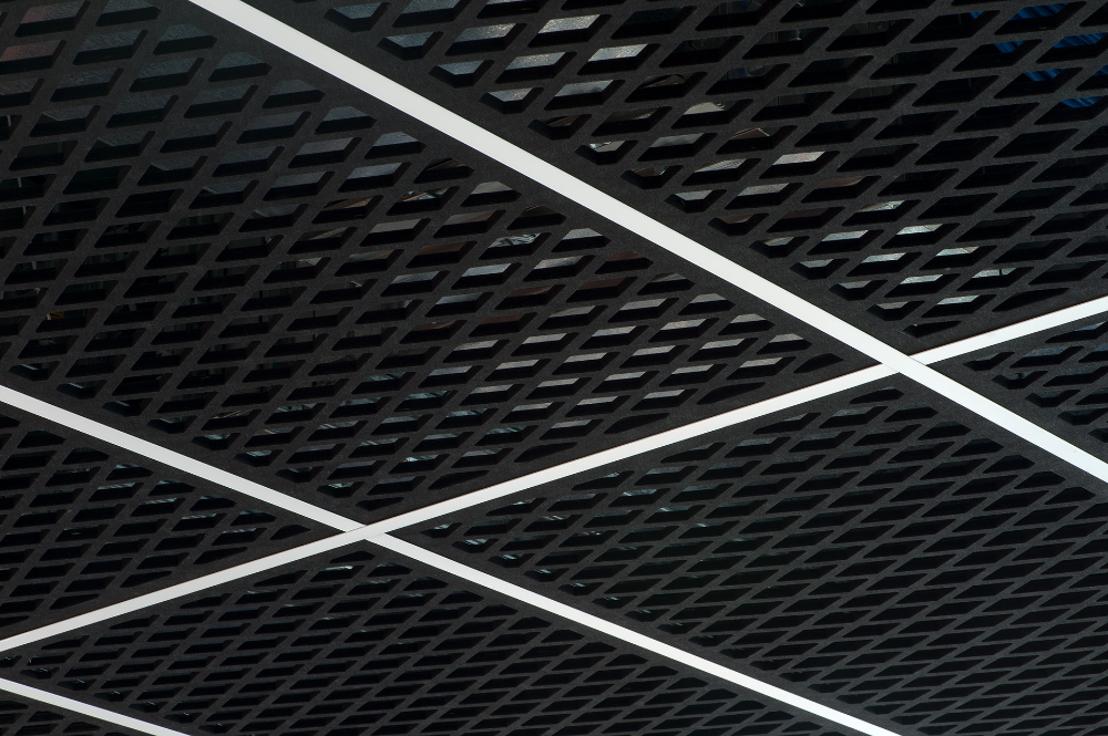 Asonas New Acoustic Mesh Ceiling Panel Adds Texture Eboss Ceiling Panels Metal Ceiling Tiles Metal Ceiling