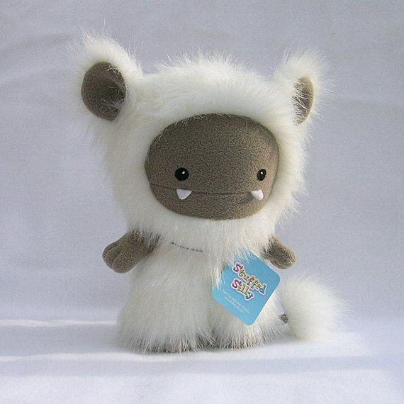 White Frost Monster Cute Plush Toy Animal By Stuffed Silly Unique Soft Art Collectible 70 00 Via Etsy Monster Crafts Handmade Soft Toys Handmade Toys