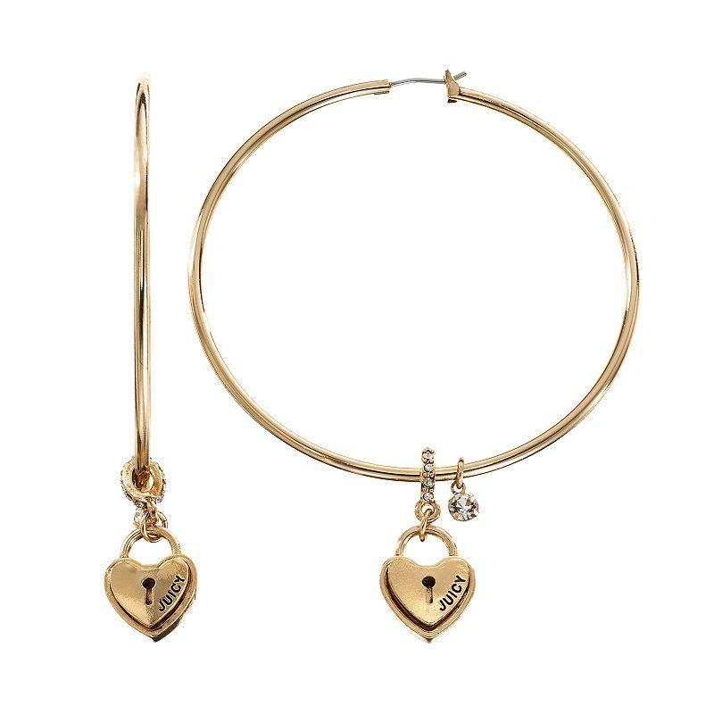 Juicy Couture Heart Lock Hoop Earrings Gold