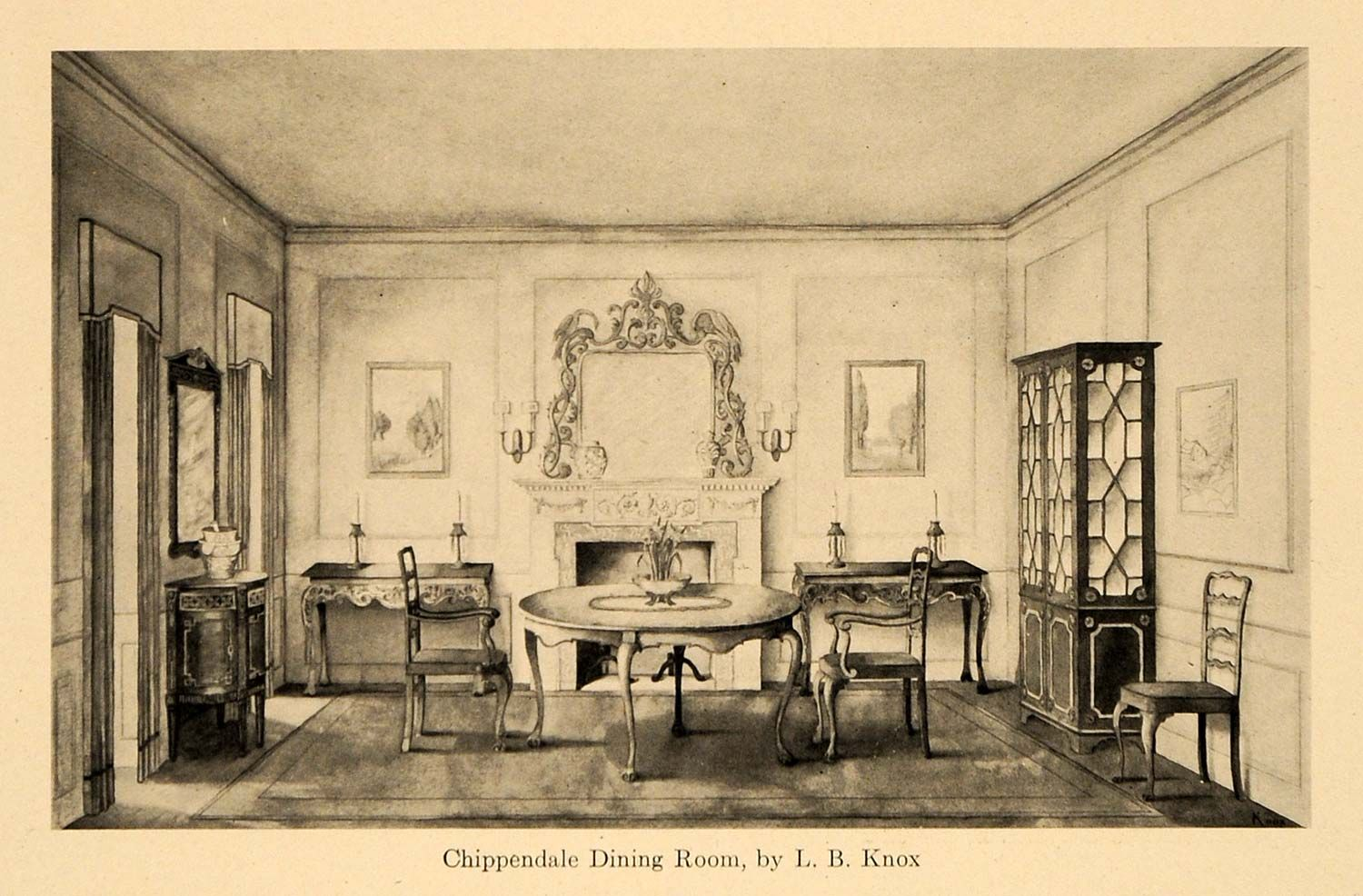 1920s Dining Room Furniture 1920 Print Chippendale Furniture Dining Room L B Knox Dining Room Design Chippendale Furniture Interior Design