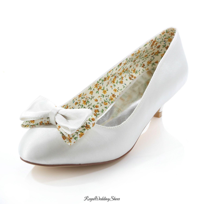 KittenHeel RoundToe Satin Bridal Shoes with Bow (With