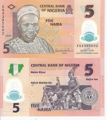 Five Naira Bank Notes Paper Money Currency Note