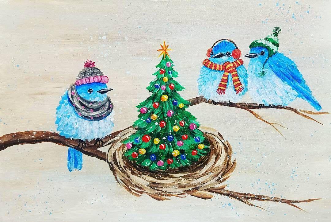 Christmas Bluebirds Acrylic Painting Tutorial # ...
