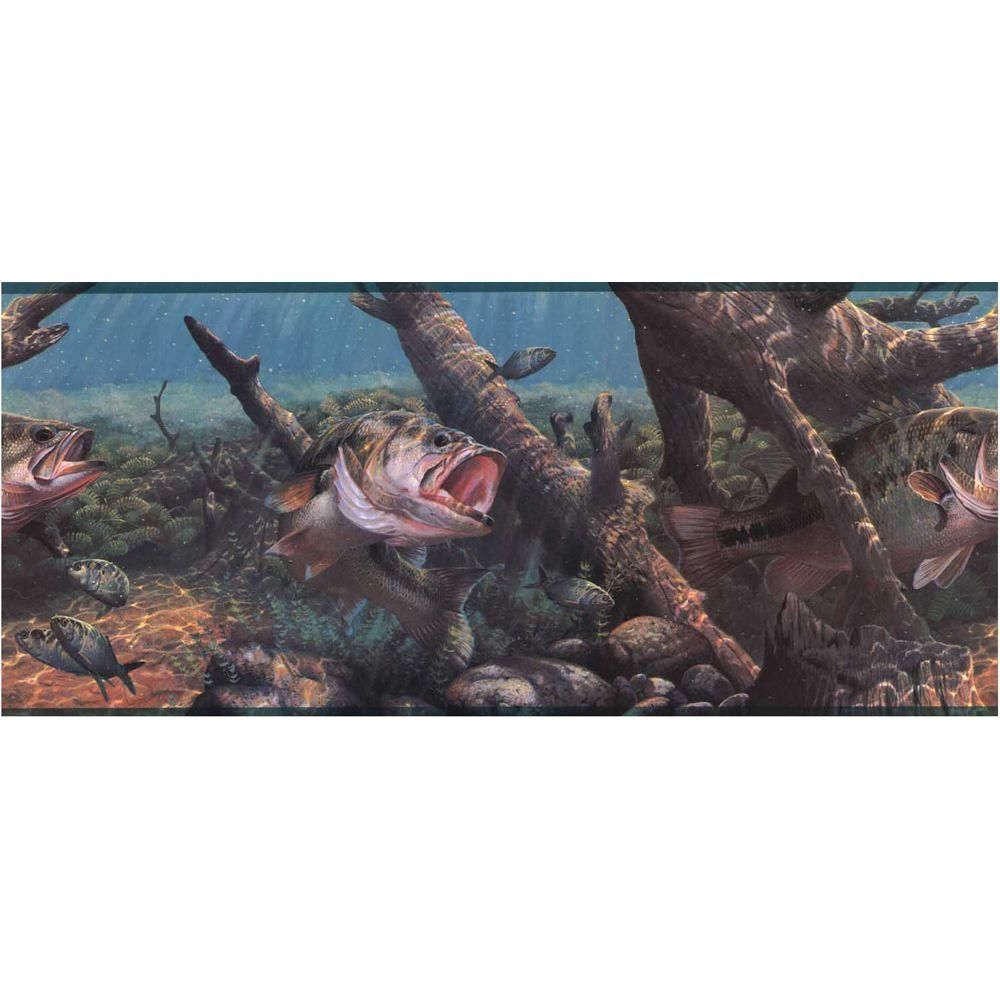 York Wallcoverings Lake Forest Lodge Game Fish Wallpaper