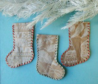 christmas stockings made from Trader Joe's bags