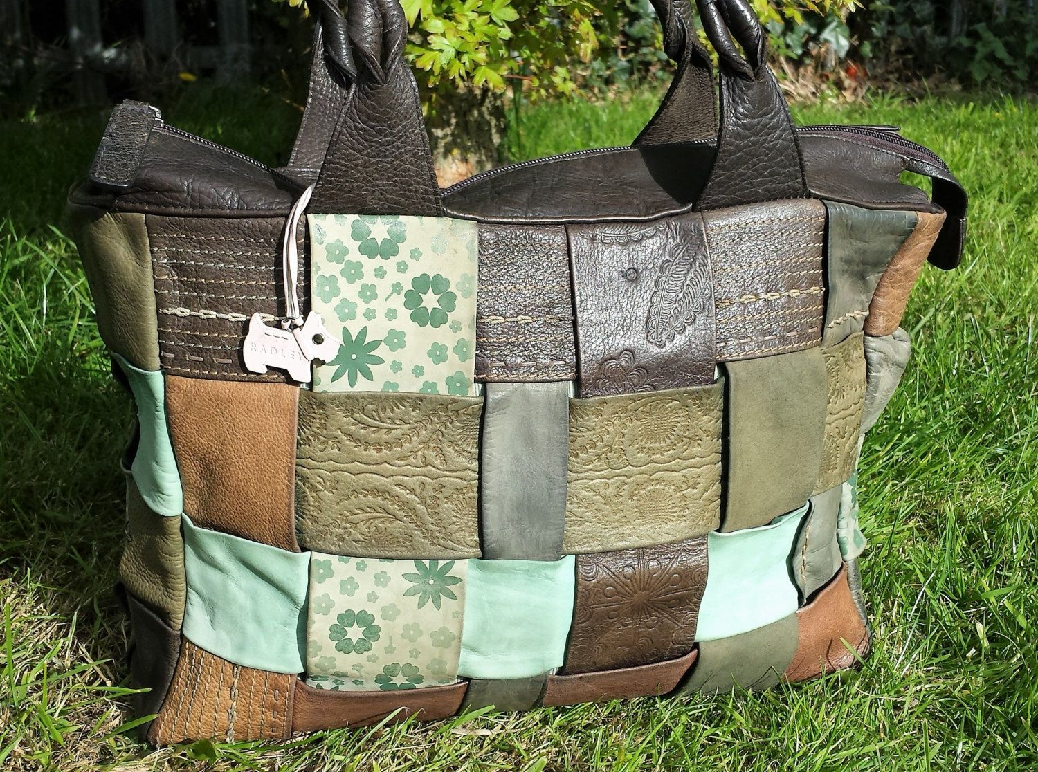 Large vintage Radley Tote shoulder bag, patchwork leather, brown leather, Radley bag with dog tag, Retro hippy chic leather tote bag purse by LuckSy on Etsy