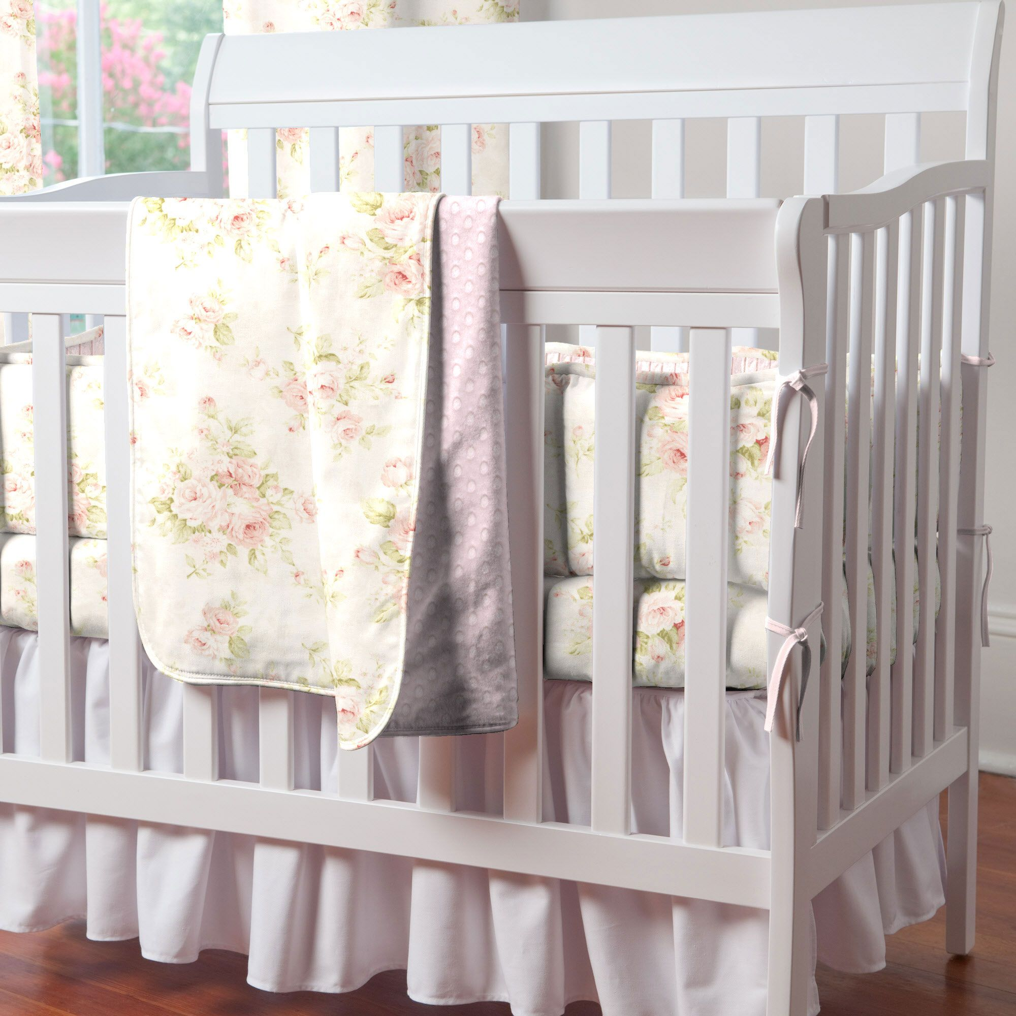 Shabby Chenille Mini Crib Blanket Mini crib bedding