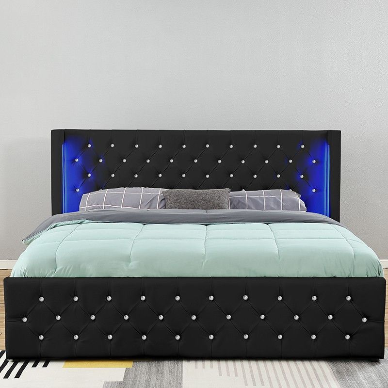 Lit A Led Capitonne Chesterfield Noir 160x200 Cm Lit Led Capitonne Lit 2 Places