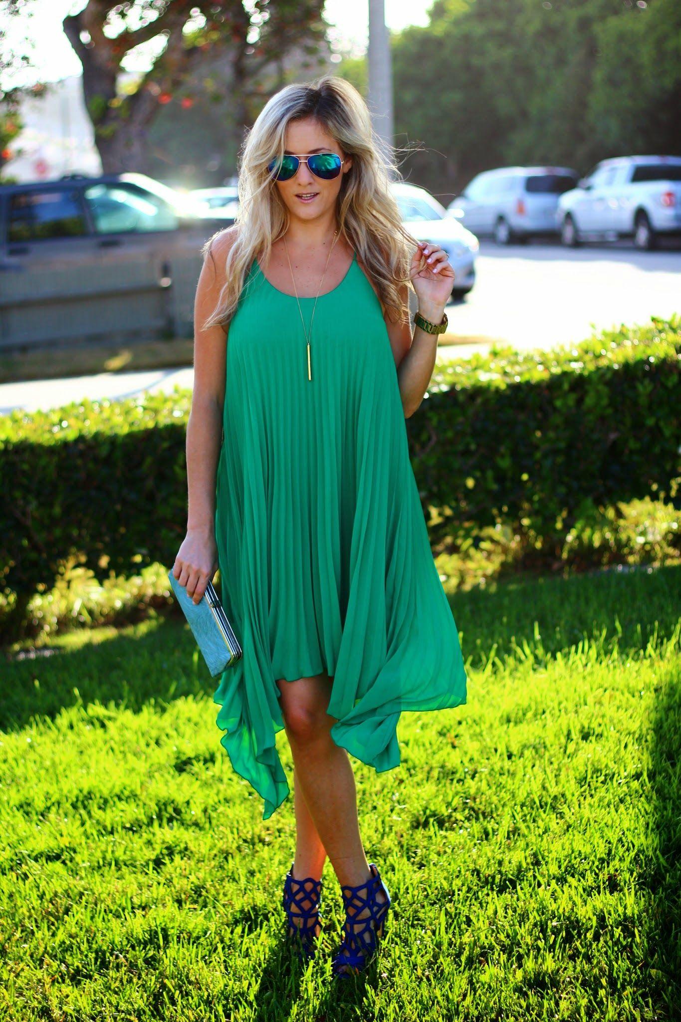 Wedding Guest Attire Pleated Green Dress Outdoor