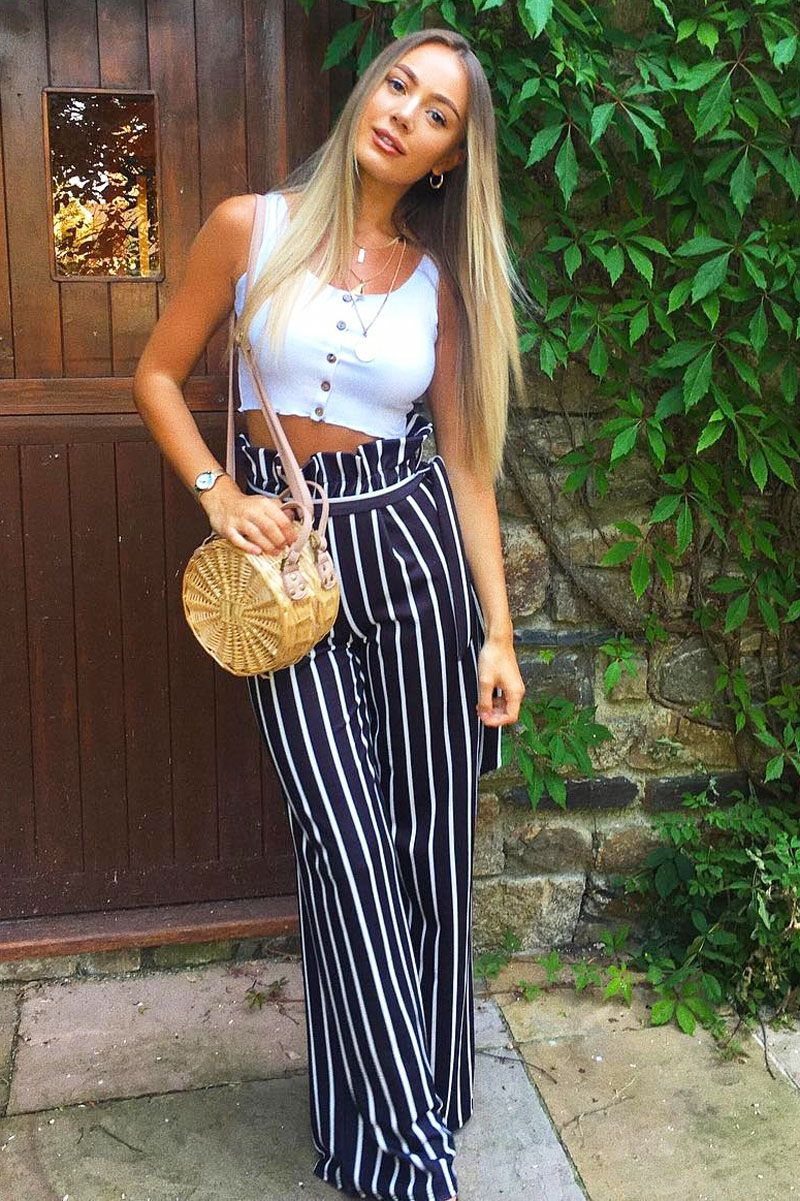 Girly HandBags BLACK AND WHITE STRIPE pantaloni