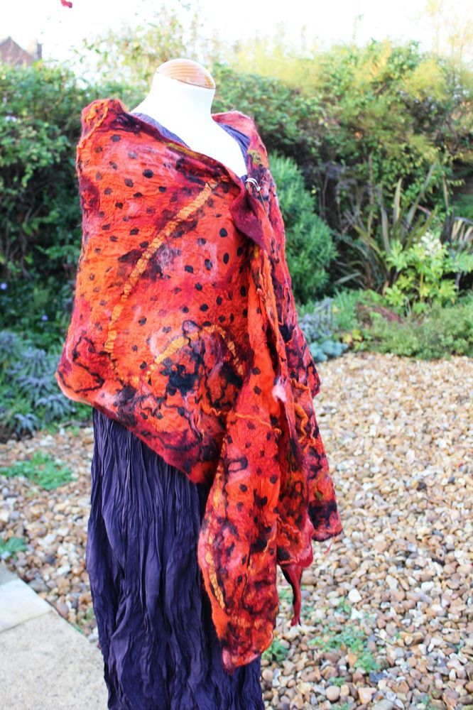 Handmade orange black Nuno felted wool & silk shawl lagenlook fibre art to wear