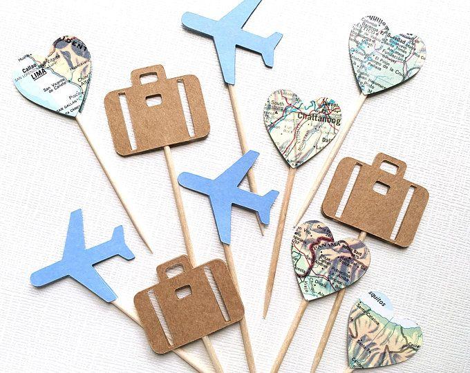Carte des Tags, mariage thème voyage, Destination mariage, Graduation, Shower, anniversaire, partie Favor Tags, étiquettes, rustique