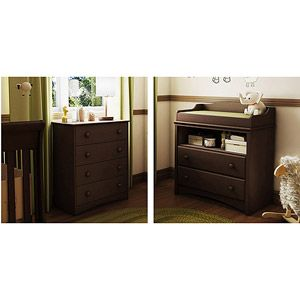 South Shore Angel Collection Changing Table And 4 Drawer Dresser, Expresso  Or Cherry Since