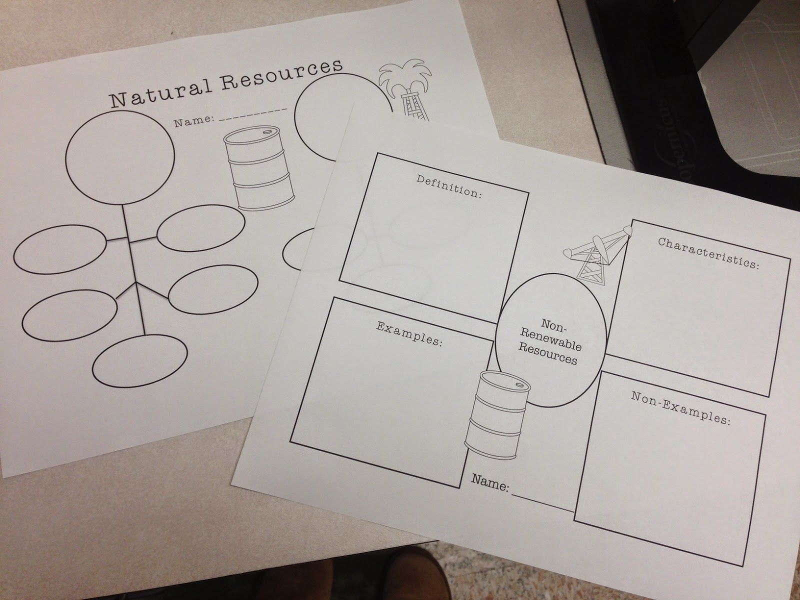 small resolution of graphic organizers on nonrenewable and renewable resources frayer models flow charts