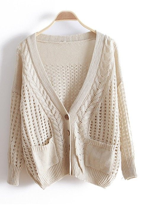 ecbbef431a25a ++ Beige Hollow-out Bat Sleeve Knitted Cotton Cardigan