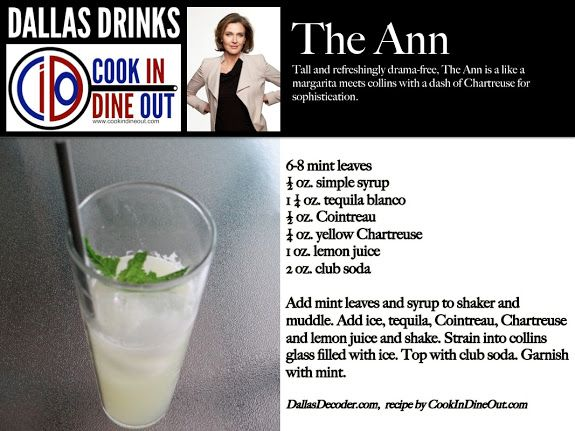 The Ann - Tall, sophisticated and refreshing. What you'd expect for the drink for Bobby's new wife.