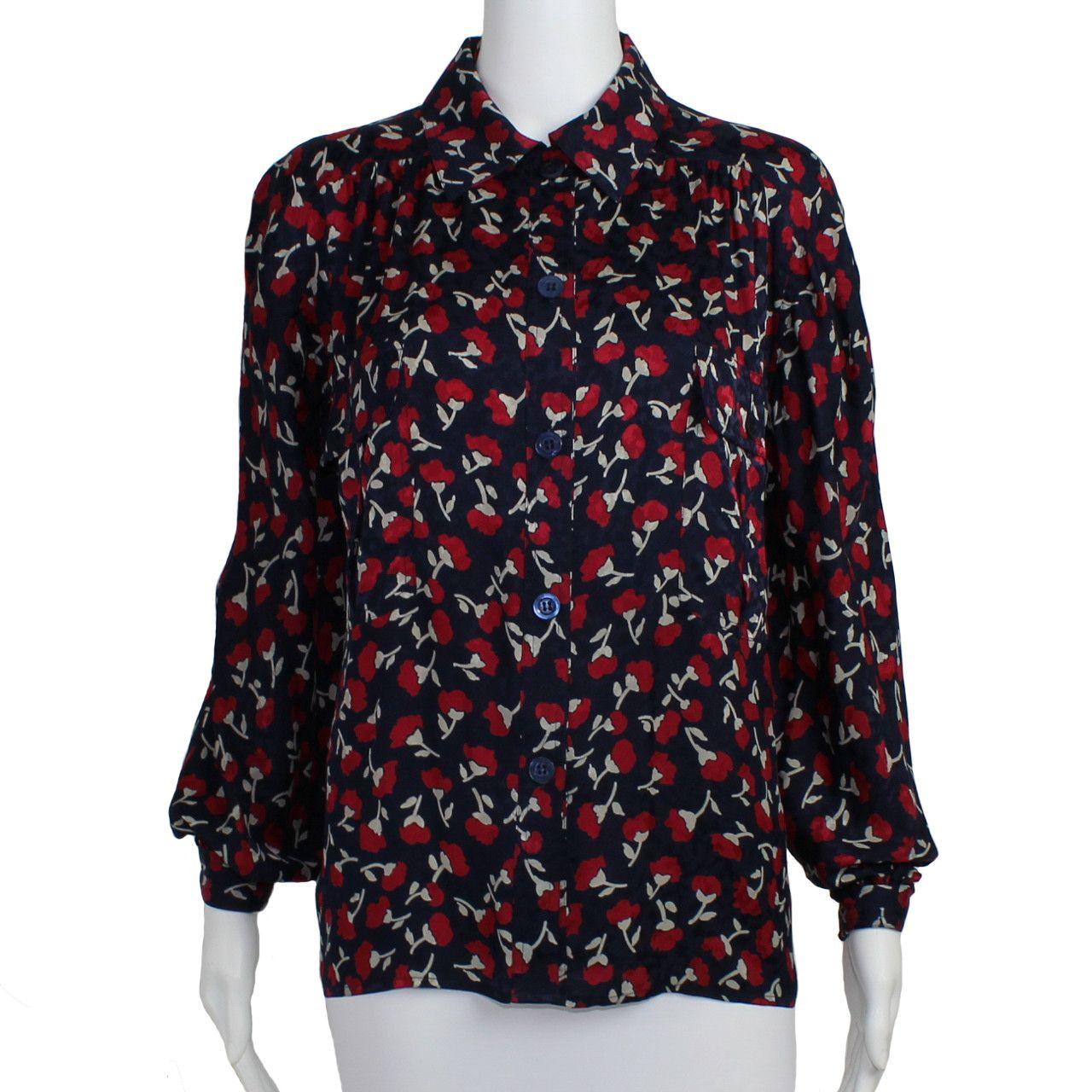 Vintage Silk Floral Blouse