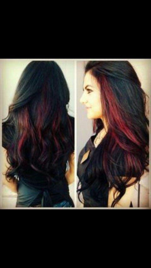 Peekaboo Highlights Hair Styles Long Hair Styles Black Red Hair