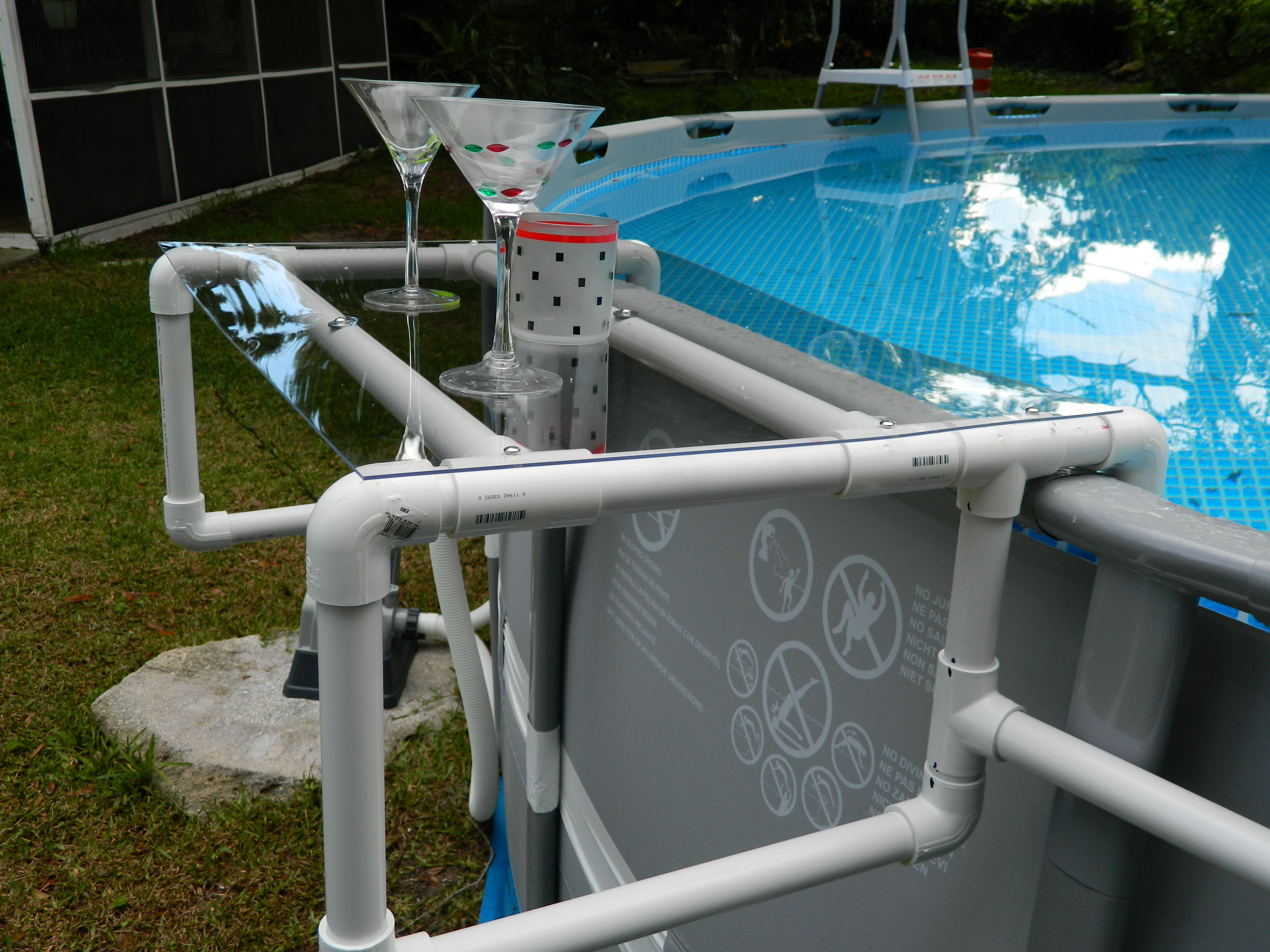 Build a great shelf for your above ground pool diy pool